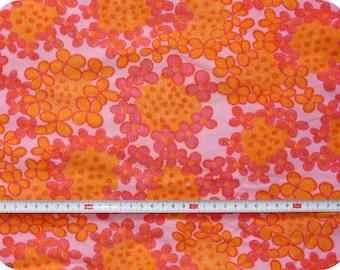 Floral retro vintage fabric - pink and orange