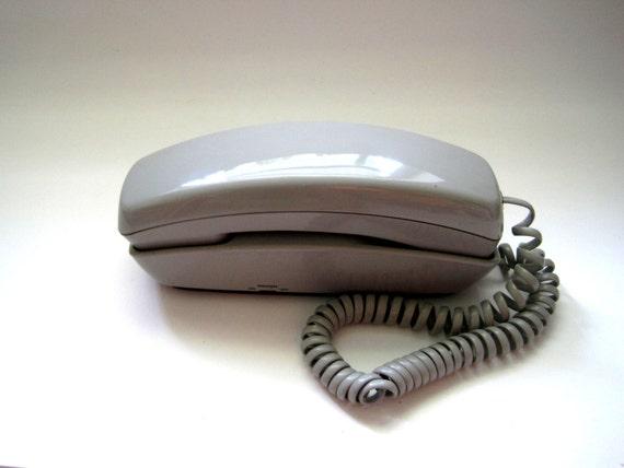 Gray Trimline Phone 1970s Push Button Quality Phone Gray