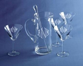 Martini Pitcher with 4 martini Glasses Monogrammed Pitcher and Glasses Personalized Pitcher and Glasses Engraved Pitcher and Glasses