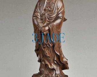"12"" Natural Eaglewood Carving: Kwan-yin / Guanyin Buddha Statue / Sculpture -JZ00151"