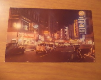 Vintage Original Theatre District At Night Boston Mass Postcard Free Shipping