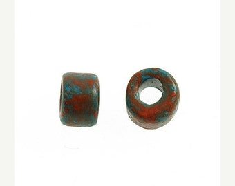 On Sale NOW 25%OFF Greek Mini Tube Ceramic Beads Turquoise / Red Marbled MT-201 Qty 20
