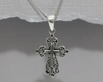 Oxidized Sterling Silver Cross Necklace, Confirmation Gift, Baptism Gift, Cross Necklace