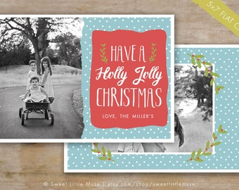Holiday Card Template - 5x7 Christmas Card Template for Photoshop - Christmas Card