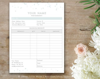 Photography Invoice Form - Invoice Form Template - Photographer Invoice - Bokeh Invoice Form for Photographers