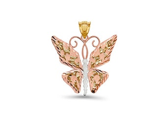 14k solid yellow and rose gold butterfly pendant.