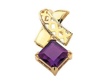 14K Yellow Gold Amethyst Pendant, Amethyst Pendant, Amethyst Jewelry, Fancy Jewelry, X Pendant, Gold Pendant, Gold Jewelry, Amethyst