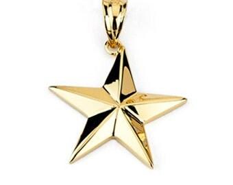 14k gold star pendant. shooting star pendant. celestial pendant
