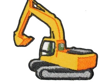 Iron on patch Excavator backhoe Construction loader track hoe bulldozer applique craft