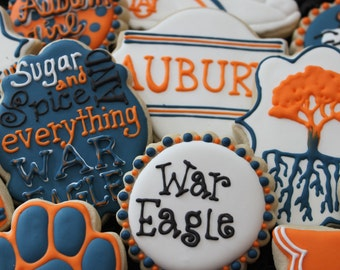 Auburn Football Cookies, College Football , Auburn University, orange and blue, custom cookies, auburn graduation, cheerleader, football
