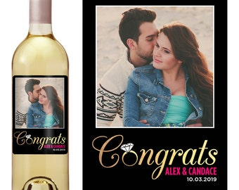 Wedding Wine Label - Custom Wine Label - Personalized Wine Label - Wedding Wine Bottle Label - Engagement Gift