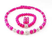 Bridesmaid Necklace, Hot Pink Pearl Necklace Set, Bridal Jewelry, Hot Pink Bridesmaid Jewelry, Pearl Necklace, Bridesmaid Gift