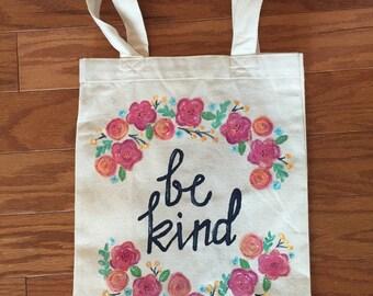 Be Kind handpainted floral tote bag