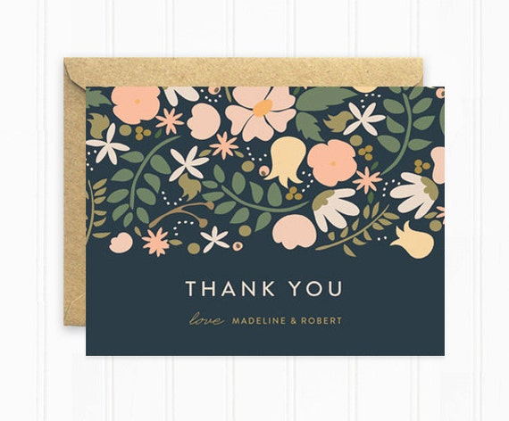 personalized thank you cards wedding thank you cards in navy blue