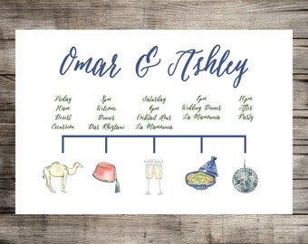Wedding Program Timeline // Hand Drawn Watercolor Images