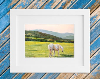 Irish Landscape Painting - Original Small Sized Painting in Oil - Horse Meadow Kerry Ireland 12 x 10