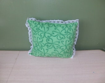 Green Shamrock Fleece Pillow With Lace, Decorative Pillow, Small Throw  Pillow, St Patricks