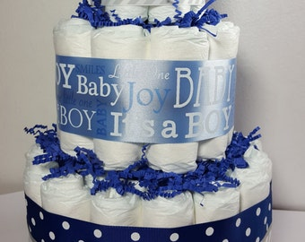 3 Tier Diaper Cake Blue Silver Chevron It's a Boy Baby Shower Centerpiece - Total of 50 Diapers