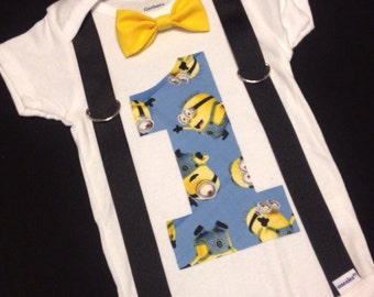 Minion Baby's First Birthday Onesie