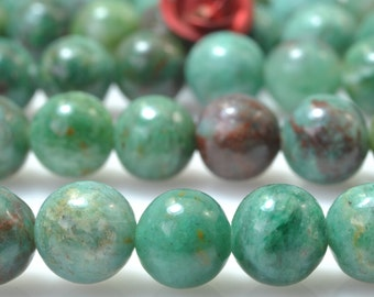 62 pcs of Natural Green Aust Dragon Blood Jade smooth round beads in 6mm (05328#)