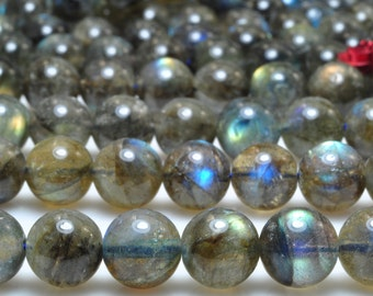 47 pcs of A Grade--Natural Labradorite smooth round beads in 8mm (3#)
