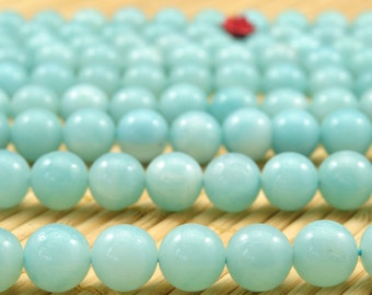 47 pcs of  Natural Amazonite smooth round beads in 8mm (04239#)