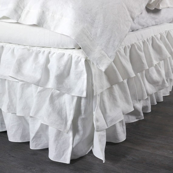 ruffled linen white bed skirt queen size choose by thenewhome1. Black Bedroom Furniture Sets. Home Design Ideas