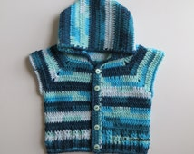 Crochet Boys or Girls Vest with Hood, 12 Months to 2T, Toddler Clothes, Baby Clothes, Autumn Sweater vest, Sleeveless Cardigan, blue, gift