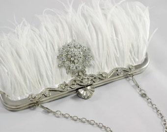 Feather Clutch, Bridal Clutch, Wedding Shower Gift, Feather Wedding Clutch, Ostrich Feather Bridal Clutch, Feather Handbag Crystal Clutch