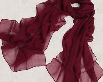 Dark Red Chiffon Scarf - Maroon Chiffon Scarf - PS126