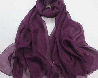 Purple Chiffon Scarf  - Purple Headpiece - Purple Chiffon Scarf