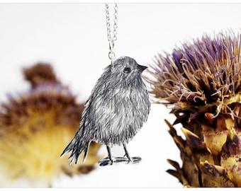 hand-drawn pendant, bird necklace, little bird, pudgy bird, grey bird