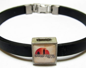 Grand Haven Michigan Link With Choice Of Colored Band Charm Bracelet