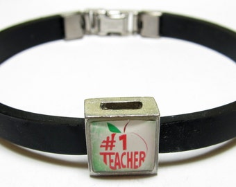 Number One Teacher Apple Link With Choice Of Colored Band Charm Bracelet