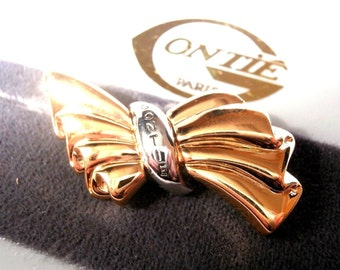 Signed Gontie Paris Signature Bow Pin Brooch 1222 Gold Plated New (D)