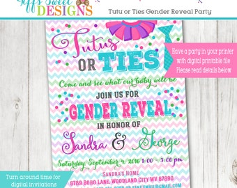 Tutus or Ties Gender Reveal Party Invitation  - Pink and Blue - Boy or Girl -  Printable -