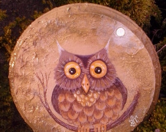 Owl and moon painting on round wood piece