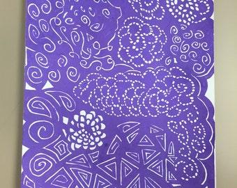 Purple explosion with Fluorescent Gel pens
