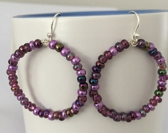 Glass Beads Memory Wire Hoop Earrings