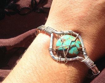 Turquoise Bracelet, Silver Bracelet, Wire Wrap Bracelet, Handmade Bracelet, Women Bracelet