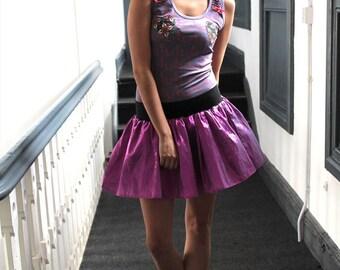 Alternative Handmade Pink Glitter Skater Skirt Mini Flare