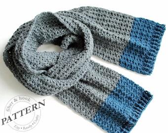 CROCHET PATTERN - Isle of Man Scarf, Crochet Scarf Pattern, Easy Crochet Scarf, Unisex Color Block Scarf (Toddler, Youth, Adult) pdf #045S
