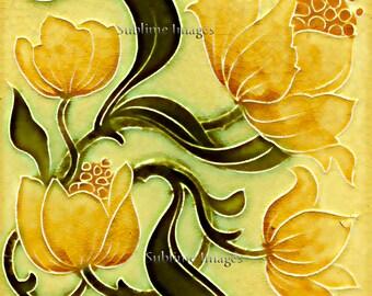 AN017 - Gloss Ceramic or Glass Tile - Art Nouveau Reproduction Tile - Various Sizes.