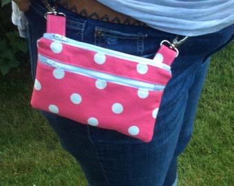 Pink polka dot hip pouch, motorcycle bag, belt bag, hip purse, hip bag, fanny pack