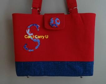 Monogram pocketbook, purse, canvas tote, red, blue, handmade, handbag, my design, shoulder straps, vacation