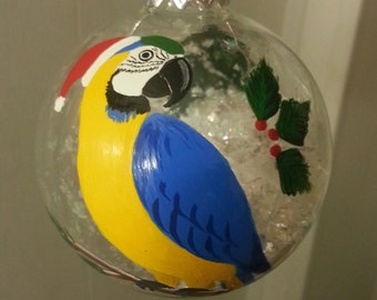 Macaw Christmas ornament, hand painted