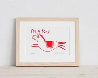 I'm a Pony | Linoldruck, Linolschnitt, Druck, Print, Pferd, für Mädchen, rot, Linoleum, Grafik, Illustration, handgedruckt, limitiert, A5