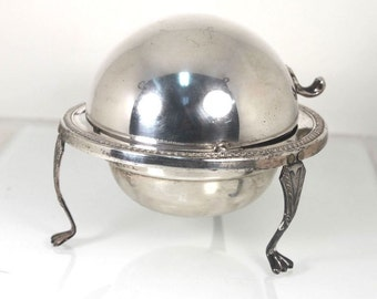 Silver Caviar Dish Roll Dome Top Butter Dish Candy or Ashtray