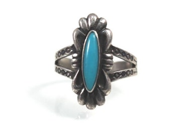Navajo Turquoise Ring Sterling Silver  Size 6