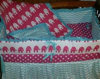 24HRSALE***Aqua and Hot pink elephant/chevron/dot 4 piece crib bedding set(LAST ONE)